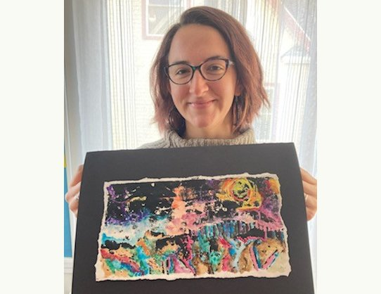 Neon Landscape. 2020. Collagraph print with gouache. Print dimensions:  9x6 Framed dimensions:  11x14 by Maddie McDougall $80.00