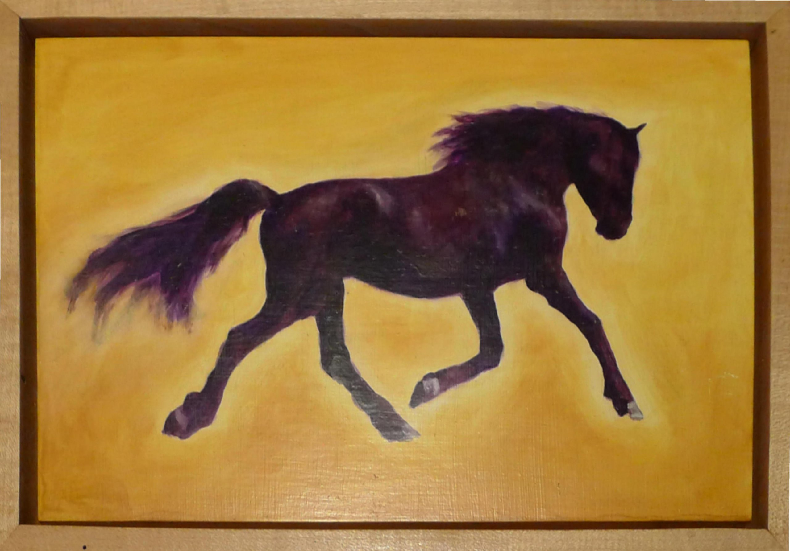 """Running Horse"" oil on panel by Robert Markey. The painting is  8""x12"", with the frame it is 9 1/4""x13 1/4"" $275.00"