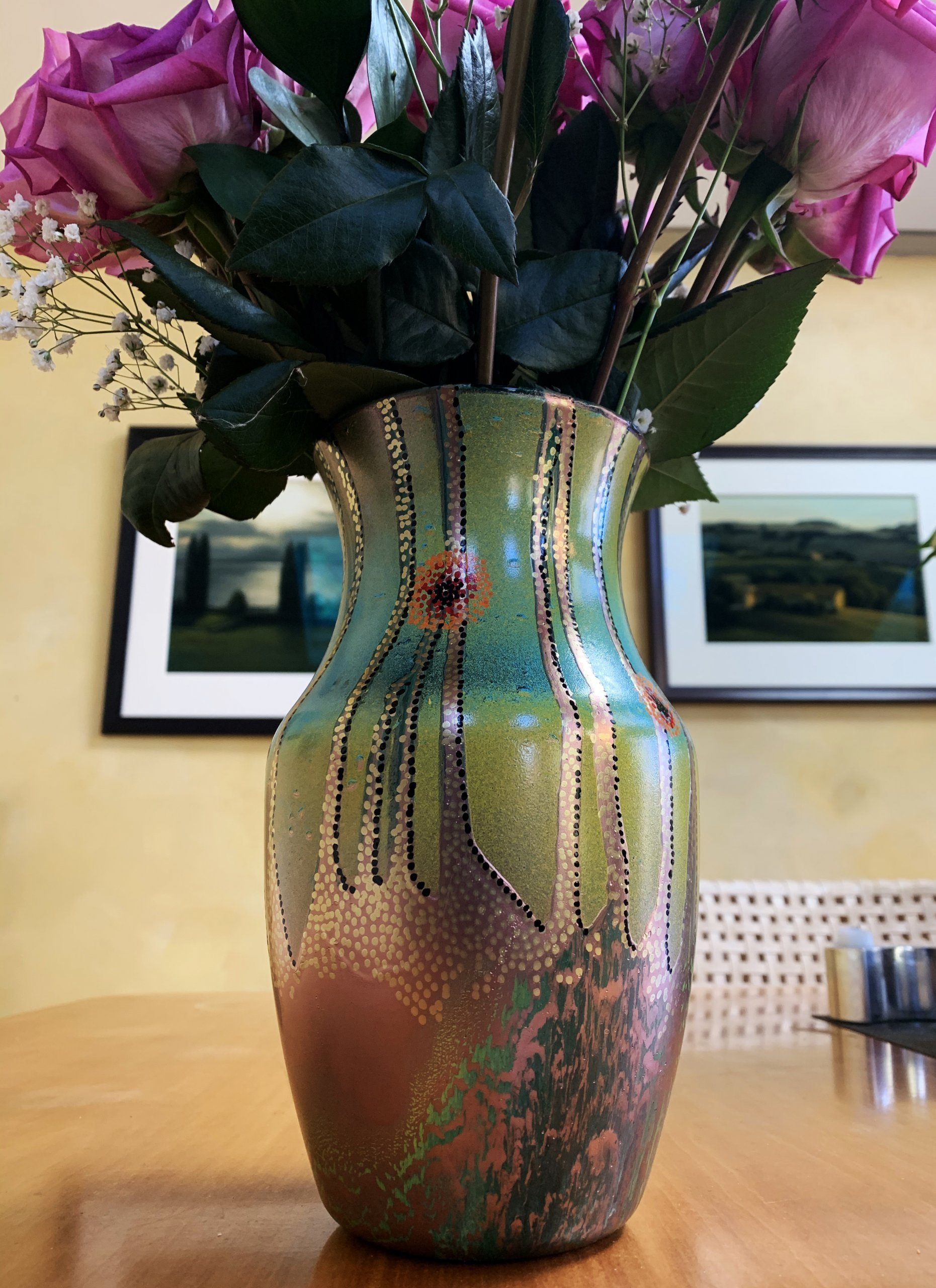 Decorative vase, enamel on glass by Vitek Kruta. $85.00