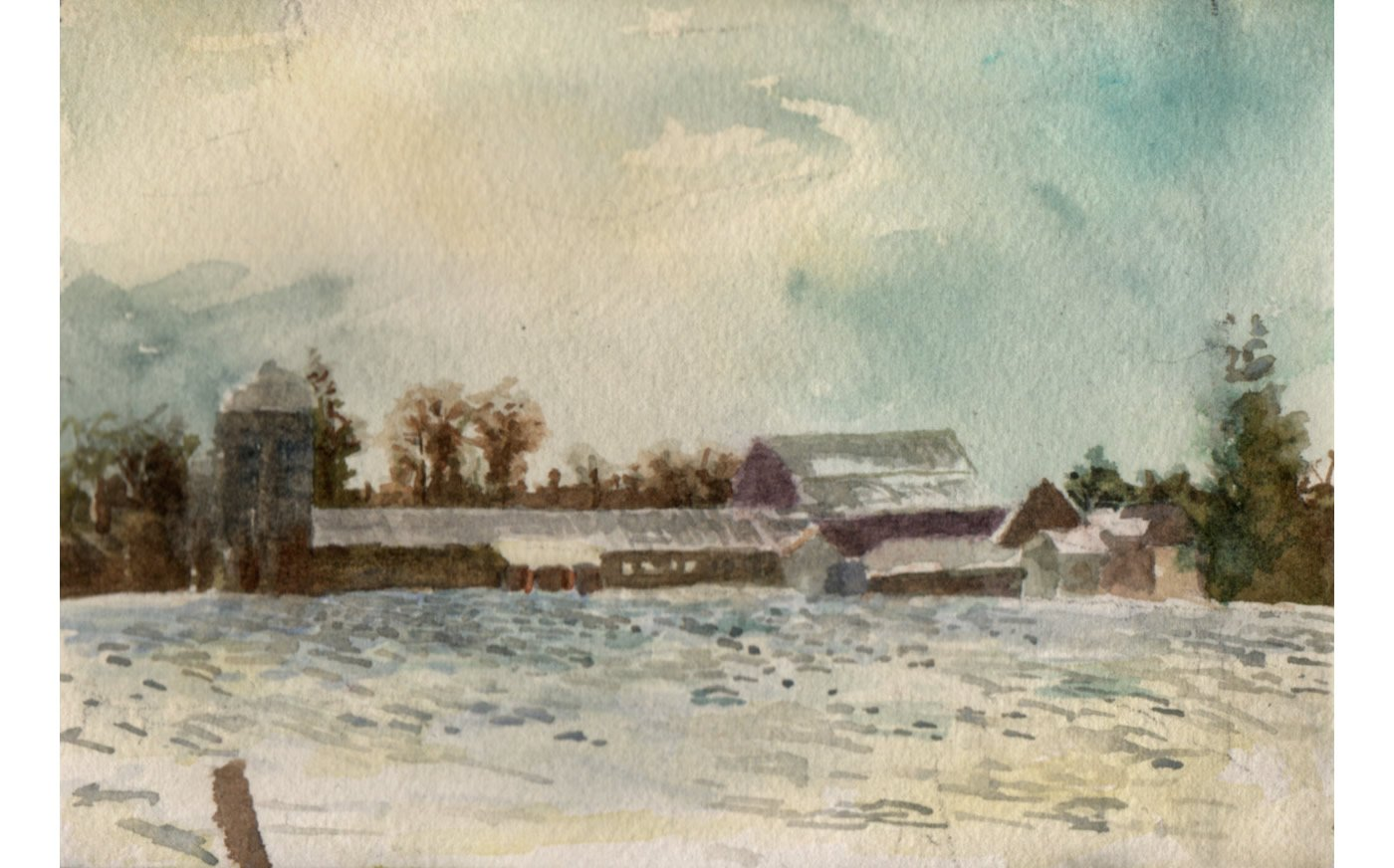 """Hartsbrook Farm from East Hadley Road Watercolor  4"""" x 6"""" (Matted and Framed, 9.5"""" x 11.5"""") by Matthew Mattingly $300.00"""