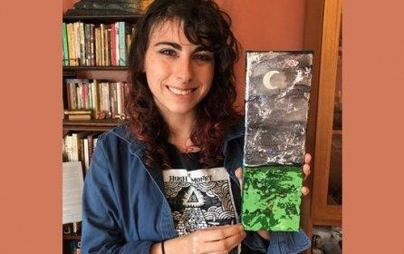 """""""Wild Moon"""" - 4"""" x 12"""" acrylic on canvas by Hannah Rosenbaum $125.00"""