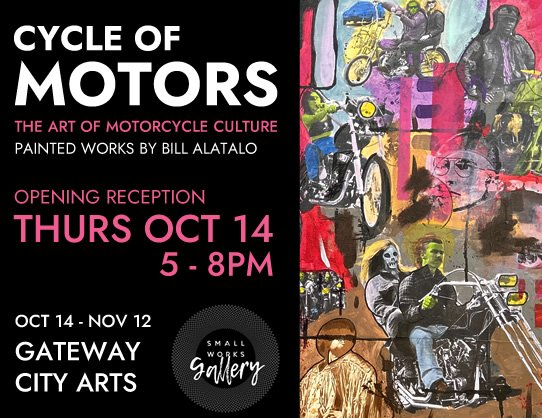 CYCLE OF MOTORS - THE ART OF MOTORCYCLE CULTURE - PAINTED WORKS BY BILL ALATALO